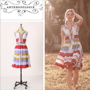 Anthropologie Maeve Striped Pleated Flouncy Dress